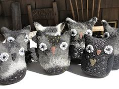 old felted sweater owls