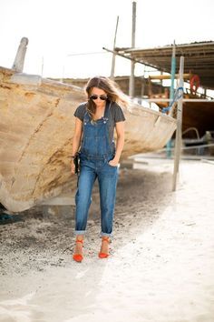overalls--I would not wear with heels--but I would love to have a pair of overalls