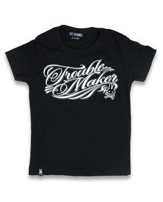 Trouble Maker Unisex Kids Classic Black T-shirt Brought to you by Father Panik