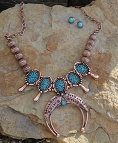 COWGIRL Bling Southwest NATIVE SQUASH BLOSSOM Western Gypsy NECKLACE SET #TRUE