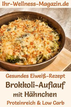 Broccoli bake with chicken - protein-rich low-carb recipe - Low Carb Abendessen - Rezepte - Broccoli bake with chicken: Hearty low-carb recipe for a healthy, low-calorie, protein-rich bake wit - Low Carb Chicken Recipes, Low Carb Recipes, Diet Recipes, Healthy Recipes, Broccoli Bake, Broccoli Casserole, Broccoli Chicken, Law Carb, Chicken Protein