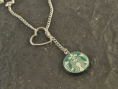 I HEART #STARBUCKS Lariat #NecklaceSilverPlate #Resin by @ChezChani @etsy