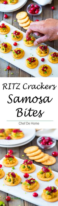 Holiday Entertaining with easy to assemble samosa bites made with flavorful spiced potatoes and peas samosa filling, cranberry chutney, and sweet 'n salty RITZ Crackers.