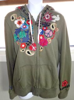 LUCKY BRAND HOODIE OLIVE JACKET EMBROIDERY 60'S LOVE PEACE