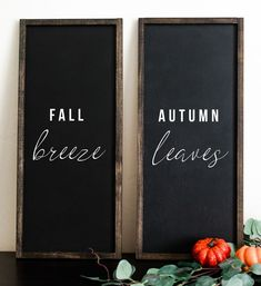 "This painted, farmhouse wood sign is inspired by all things fall and all things pumpkin. It reads: ""fall breeze autumn leaves"" on the painted sign. This cute, square sign would be perfect on a wall or mantle to decorate for the fall season. Rustic Fall Decor, Fall Home Decor, Autumn Home, Fall Apartment Decor, Fall Decor Signs, Fall Mantle Decor, Modern Fall Decor, Fall Wood Signs, Wood Signs Home Decor"