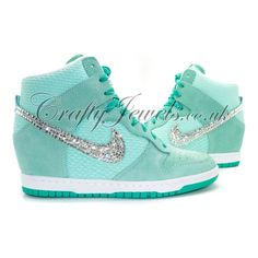 Crystal Nike Dunk Mesh Sky Hi in Teal with Swarovski or Diamante Crystals.