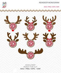 Reindeer svg Monogram Frame DXF SVG PNG eps Vinyl winter christmas deer decal Cricut Design, Silhouette studio, Instant Download by SvgCutArt on Etsy