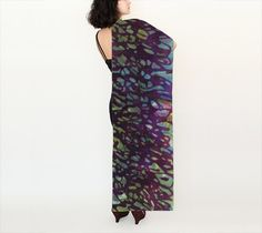 Purple script long scarf, asemic writing, silk, fabric choice, oblong, original art, wearable art, art to wear, gifts, luxury, made to order by paperwerks on Etsy #etsy