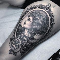 Vintage cameo done @psycho_tattoo_studio @psycho_tattoo_studio