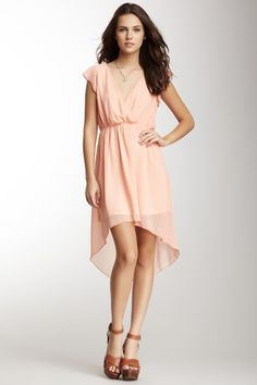 Ruffle Sleeve Hi-Lo Hem Dress