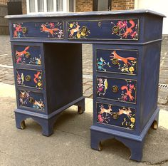 Commissioned desk from Brambles and Berries Etsy Shop. Annie Sloan Neapolitan Blue, black wax shading and animal decoupaged detailing. Vintage desk / vintage bureau / writing table / decoupaged furniture / up-cycled furniture / painted furniture / Annie Sloan Napoleonic blue / office furniture