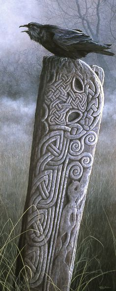 Beautiful moody atmosphere, the raven, the celtic knots carved into the stone. Just wonderful!