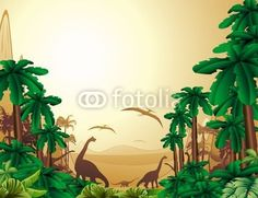 ☆SOLD!☆ (ツ) #Dinosaurs on #Tropical #Jurassic #Landscape   http://it.fotolia.com/id/34883584#