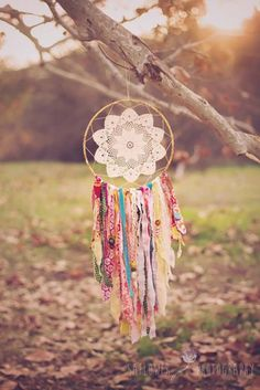 Recycled Fabric DIY Dreamcatcher | DIY dreammcatcher | Ideas & Inspiration, see more at https://diyprojects.com/diy-dreamcatcher-ideas-instructions-inspiration