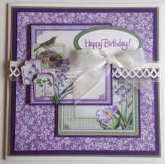 Birthday Card - Graphic 45 Time to Flourish  - March Cut Apart.  Handcrafted by Debbie Hill - June 8, 2016.