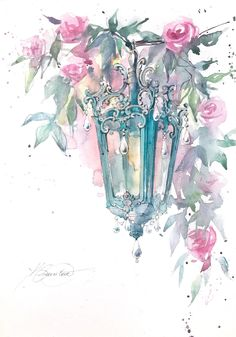 Watercolor Drawing, Watercolor Cards, Watercolour Paintings, Original Paintings, Original Art, Art Floral, Art Lessons, Art Drawings, Fine Art Prints