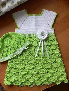 فستان بنوته كروشيه - crochet girl dress ~ شغل ابره NEEDLE CRAFTS