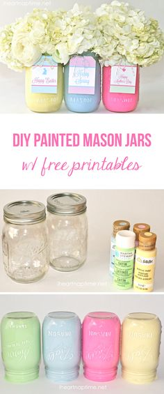DIY painted mason jars with free tags -these make a cute and inexpensive gift for Easter or Mothers Day! Easter clipart ideas