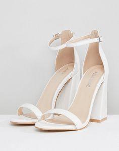 Shop Public Desire Tess White Block Heeled Sandals at ASOS. Fancy Shoes, Pretty Shoes, Dr Shoes, Shoes Heels, Ankle Strap Heels, White Block Heel Sandals, White Heeled Sandals, Elegantes Outfit, Prom Heels