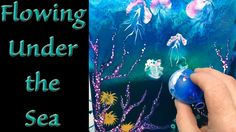 How to do Dirty Cup Fluid Acrylic Background & Coral Reef with Balloon p...