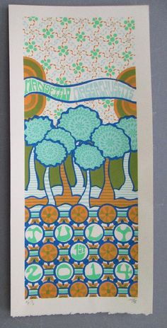 Original silkscreen concert poster for Phish in Mansfield, Massachusetts in 2014.  It is printed on Watercolor Paper with Acrylic Inks and measures around 110 x 22 inches.  Print is signed and numbered out of 100 by the artist Tripp.