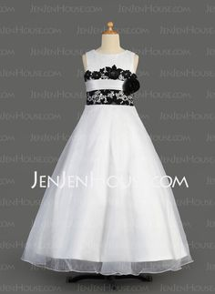 Flower Girl Dresses - $114.69 - A-Line/Princess Scoop Neck Floor-Length Organza Charmeuse Flower Girl Dress With Lace Sash (010014611) http://jenjenhouse.com/A-Line-Princess-Scoop-Neck-Floor-Length-Organza-Charmeuse-Flower-Girl-Dress-With-Lace-Sash-010014611-g14611