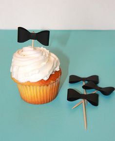 Bow Tie Cupcake Toppers printable and SVG file available for the Silhouette Cameo cutting machine