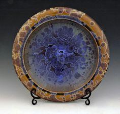 "BILL CAMPBELL Art Pottery  14.5"" Platter with Crystalline Glaze Porcelain WoW !"