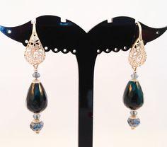 Earrings silver 925 with blue agate di RoxaneItalianJewelry