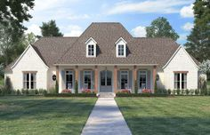 French Country House Plan with 4 Bedrooms and Baths - Plan 6838 Acadian Style Homes, Acadian House Plans, French Country House Plans, Southern House Plans, French Country Style, Southern Homes, Southern Style, Country Style Houses, Texas House Plans