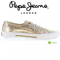 Niñas brillando como un sol en el verano con estas zapatillas deportivas tipo bamba de lona doradas con cordones de Pepe Jeans  Del 36 al 40