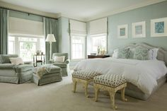 green and white bedroom Bedroom Traditional with beige carpet drapery green