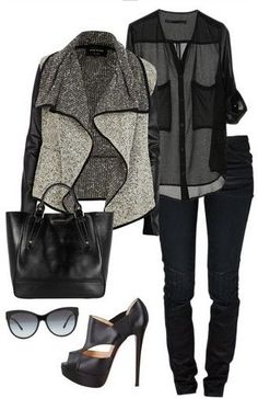 Black and Grey Outfit look, Grey Cardigan, Jeans and Black Pumps