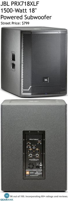 """JBL PRX718XLF 1500W 18"""" Powered Subwoofer. The stereo inputs use DSP to provide selectable cross-over functionality, polarity optimization, dynamic limiting , protection, and discrete component optimization. For a Detailed Guide to PA Subwoofers see https://www.gearank.com/guides/pa-subwoofers"""