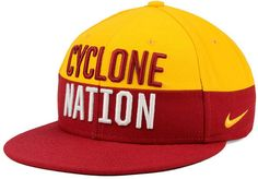 Wear your team's cheer with the Nike NCAA Pro Verbiage snapback cap. The hat features the Iowa State Cyclones chant on the front and logo on the back, and features a high crown and normal bill. High crown Structured fit Normal bill Raised embroidered team wordmark at front Flat embroidery team logo at back Stitched brand logo at left Adjustable snapback closure at back Polyester Spot clean