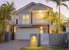 Hawthorne, Small Lot home Builder: Evermore Duplex Design, Bungalow House Design, Modern House Design, Weatherboard House, New Home Builders, Facade House, House Facades, Facade Design, Coastal Cottage