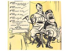 Mussolini as Hitler's puppet, by David Low in KEN Magazine Political Events, Political Cartoons, Francisco Miranda, Operation Barbarossa, Appeasement, Propaganda Art, Prisoners Of War, Poster Pictures, Nose Art