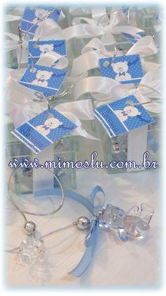 Marcadores de livro em caixinhas de vidro para lembrancinha de maternidade. Www.mimoslu.com.br