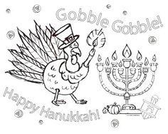 A once in a lifetime mashup! Thanksgivukkah! FREEcoloring page.