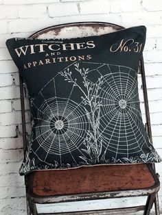 Halloween Pillow Cover Witches Spider Web Cotton by JolieMarche