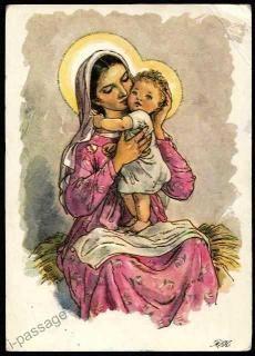 Old Czech Christmas Card Marie Fischerová Kvěchová Elsa Beskow, Nostalgic Art, Blessed Mother Mary, Madonna And Child, Children Images, Mother And Child, Virgin Mary, Christmas Art, Vintage Art