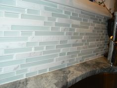 This customer used our Tessera Subway Ming on a backsplash. I love the frosty look! Thanks to the great blog run by @aelmama for posting this pic! Click for more photos of this fantastic home.