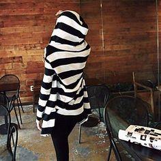 Women's Causal Stripe Hoodies Cardigan Sweater #stripes #top