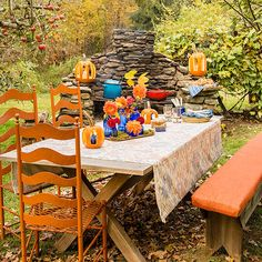 Party Prep: Getting StartedKeep the summer patio furniture out just a little longer -- you'll need it to help create this festive fall party site. A backyard fireplace serves as the focal point, while fun games and fall-theme foods are placed nearby. No fireplace? Not to worry! Spark up a bonfire surrounded by chairs.