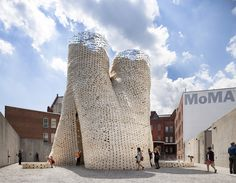 New York-based The Living created a circular tower made of biodegradable bricks for MoMA annual Young Architects Program. Photo Credit: The living Architecture Awards, Organic Architecture, Space Architecture, Contemporary Architecture, Architecture Organique, Systems Biology, Brick Design, Villas, Museum Of Modern Art