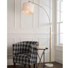 Modern Shade Single Light Arc Floor Lamp - Shades of Light Floor Lamp Shades, White Floor Lamp, Arc Floor Lamps, Modern Floor Lamps, Interior Lighting, Modern Lighting, Task Lighting, Porch Lighting, Arc Lamp