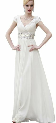 DAPENE Women Lady Formal Vintage White Cap Sleeve Evening Gown Maxi Dress Color: White Fabric: Taffeta Silhouette: A-line Neckline: V-neckline White long V Vintage Evening Gowns, White Caps, Prom Dresses, Formal Dresses, White Fabrics, Cap Sleeves, One Shoulder Wedding Dress, Wedding Gowns, Floor