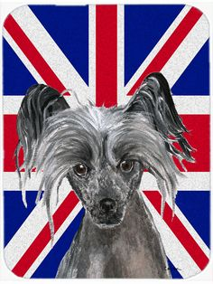 Chinese Crested with English Union Jack British Flag Mouse Pad - Hot Pad or Trivet SC9857MP #artwork #artworks