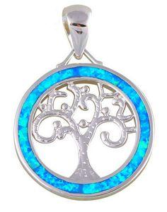 Lebensbaum-Anhänger mit Opal ( 925 Silber gestempelt )