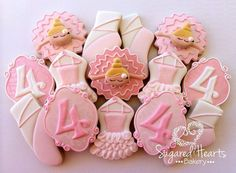 "Decorated Sugar Cookies With Royal Icing Ballerina and ""4"" Monogram."